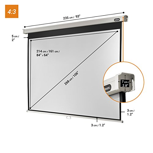 Best Saving for celexon screen Manual Professional | Format 4:3 | 220 x 165 cm | Projector screen for every type of projector, Full HD and 3D | Easy installation, good surface Review