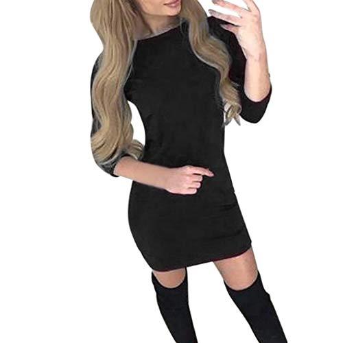 Felicove Damen Minikleid,Frauen Fallen Lotusblatt Rand trägerlosen Elastizität Mini Temperament Kleid Damen Elegant Pulloverkleid Strickkleid Tunika Kleid V-Ausschnitt Langarm Minikleid -