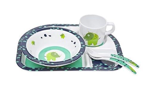 Lässig Dish Set 4-teiliges Kindergeschirrset mit Schale, aufgeteiltem Teller, Tasse und Besteck aus 100% Melamin, Wildlife (Französisch Dish)