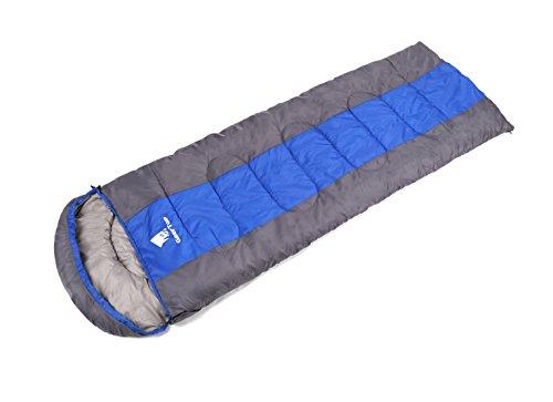 GEERTOP® Erwachsene Schlafsack Warm Leichter, 220x85 cm, 0 to 12 ℃, Kragen und Kapuze mit Kordelzug mit kleinstem Packmaß, Für Outdoor Camping Wandern (Blue, Groß)  (Reißverschluss Anbieter)