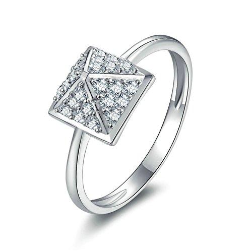 (Custom Ringe)Adisaer Ring 925 Sterling Silber Damen Dreieck Kristall CZ Strass Pyramide Verlobungsring Größe 64 (20.4) Kostenlos Gravur
