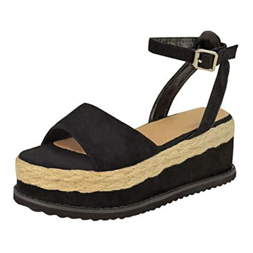 iYmitz Sommer Frauen Sandalen mit Keilabsatz Flatform Wedge Schuhe Damen Fisch Mund Freizeit Sandalen(Schwarz,EU/36.5)