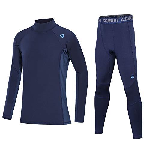 Echinodon Mädchen Sportunterwäsche Jungen Kompressionsunterwäsche Set für Fitness Fußball Training Radsport Running Blau