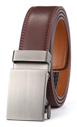 GFG Herren Gürtel,Leder Automatik Gürtel Für Herren Jeans Anzug Gürtel-3,5cm Breite-003-125-Braun (Herren-gürtel Einzigartige)