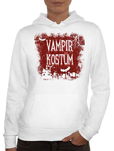 ShirtStreet Halloween Fasching Karneval Gruppen Damen Hoodie Frauen Kapuzenpullover Vampir Kostüm, Größe: ()