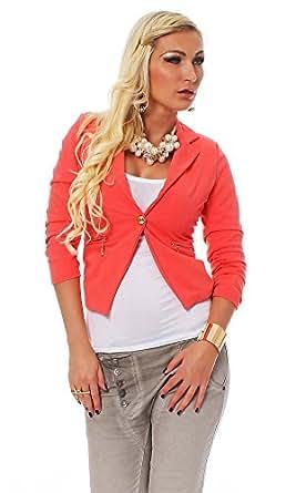 10484 Fashion4Young Damen Kurzjacke Blazer Jäckchen Jacke kurze Bolero-Design verfügbar in 7 Farben (S = 34, Coral)