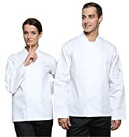 Dill Chefs Long Sleeve Studded Jacket Shirt (M, White)