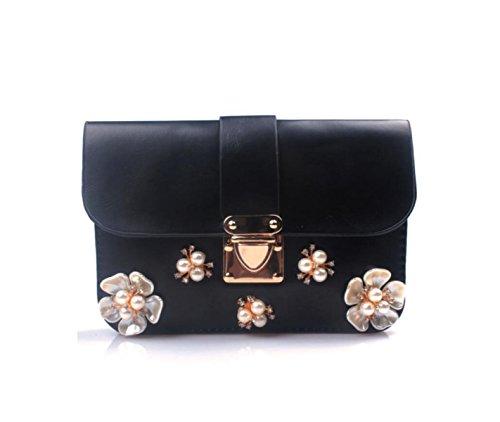 GSHGA Damen Handtaschen Diamond Bearded Blumen Kreuz Paket Retro Chain Umhängetasche,Pink Black