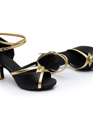 La mode moderne Sandales Chaussures de danse pour femmes personnalisables Satin Satin Amérique/Danse Sneakers talons Cuban Heel Performance/intérieur noir/bleu/marron/rouge Brown