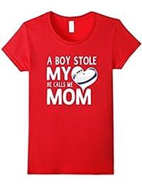 A Boy Stole My Heart He Calls Me Mom Rugby Moms Gift T-Shirt Damen, Größe L Rot