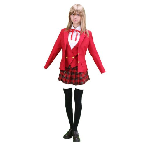 Dream2Reality japanische Anime Mahou Sensei Negima(Happy Material) Cosplay Kostuem - High School Maedchen Uniform Winter Kid Size Large