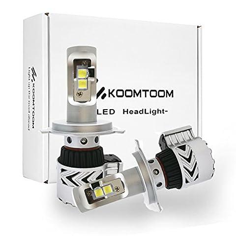 1Pair New Auto LED Phares Ampoules H4 Head Light Kits de Conversion Accessoires 72w 12,000Lm Haute luminosité 6500K Blanc - 2 ans de garantie