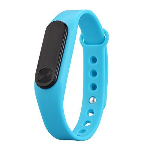yirong® Bluetooth 4.0Fitness Tracker, IP65Wasserdicht Smart Watch mit Herzfrequenz Monitor, Schrittzähler, Kalorien Zähler für iPhone Android Smartphone M2, blau