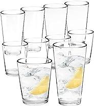 Youngever 8 Pcs Bistro Premium Quality Plastic Drinking Tumblers, Plastic Glasses, Reusable Plastic Cups, Unbr