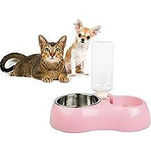 Comedero para mascotas por rechel alimentador automático 2in1alimentación y riego mascota botella de agua comedero con dispensador de alimentos, y cuenco de acero inoxidable para Perro y gato de peluche (tamaño pequeño)