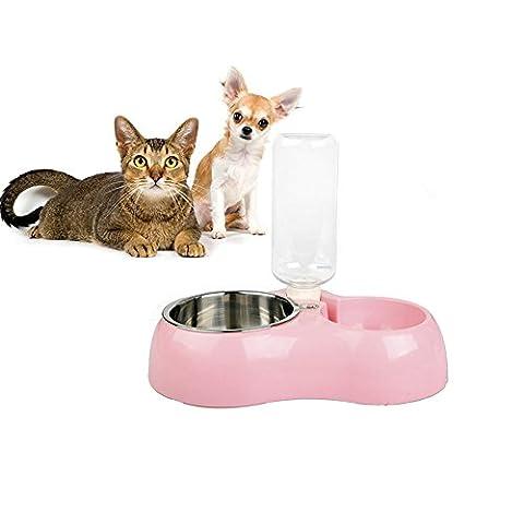 Par rechel Pet Feeder Distributeur automatique 2en 1biberon et d'arrosage avec distributeur de nourriture Pet Feeder, bouteille d'eau et gamelle en acier inoxydable pour chien et chat (Petit)