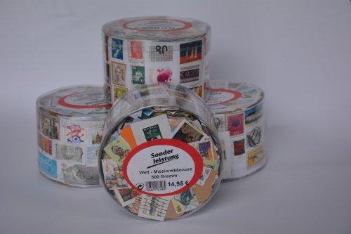 Preisvergleich Produktbild Goldhahn 500 Gramm Welt Kiloware in Runddose Briefmarken für Sammler