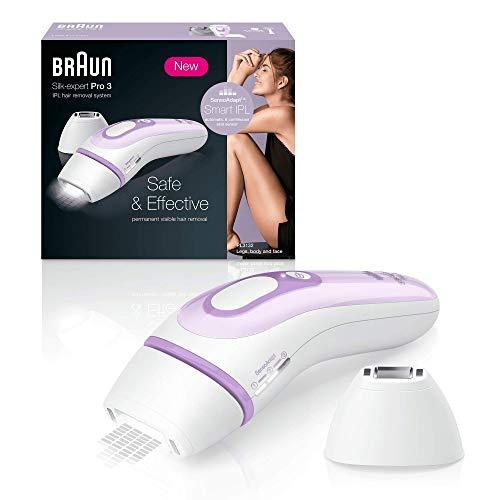 Braun silk-expert pro 3 pl3111 epilatore luce pulsata, ipl, epilazione definitiva, testina di precisione, bianco/lilla, corpo e viso, rasoio venus, borsa clinicamente testato, 300.000 impulsi di luce