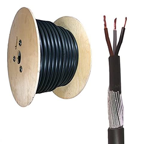 4mm 3 Core SWA Steel Wire Armoured XLPE Electrical Cable 50M BASEC Approved