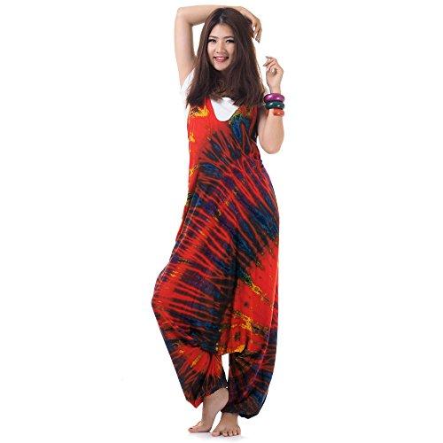 (Hippie Batik Jumper Hose Haremshose Overall Baumwolle 38 40 42 44 S M L (Rot))