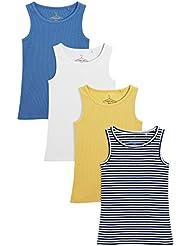 next Niñas Junior Paquete De Cuatro Camisetas Sin Mangas Estampado Y Colores Varios (3-16 Años)
