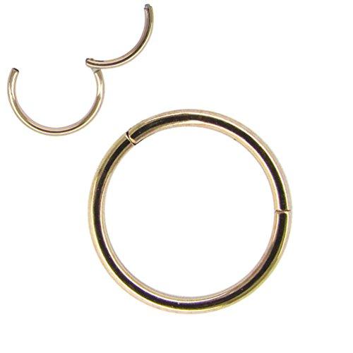 NewkeepsR 18G 12mm (1/2'') Rose Gold 316L Chirurgenstahl Nase Hoop Ring Ohrring Scharnier Clicker Seamless Segment Piercing (18g Segment Hoop)