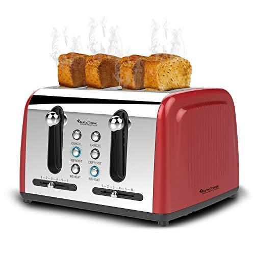4 Scheiben Langschlitz Toaster mit 1500W, Aufwärm- / Auftaufunktion, inkl. Brötchenaufsatz Krümelschublade, Retro Design