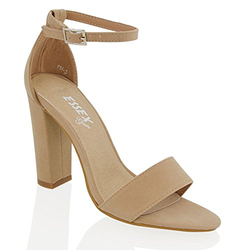 ESSEX GLAM Damen Hochblockabsatz Riemchen Zehenfrei Schuhe Knöchelriemen Sandalen Hautfarbe Wildlederimitat