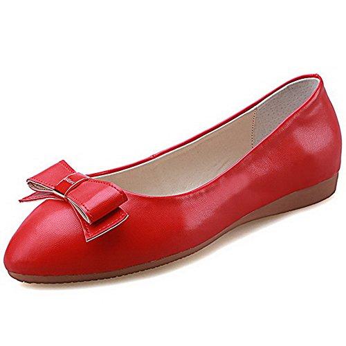 AllhqFashion Femme Pu Cuir Mosaïque Tire Rond à Talon Bas Chaussures Légeres Rouge