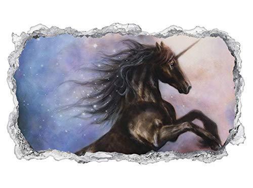 3D Wandtattoo Kinderzimmer Cartoon Pferd Einhorn Fantasy abstrakt Wand Aufkleber Wanddurchbruch sticker selbstklebend Wandbild Wandsticker Wohnzimmer 11P407, Wandbild Größe F:ca. 140cmx82cm