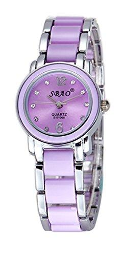 Art- und Weiseimitat keramische Frauen-Dame-Armband-Uhr-wasserdichte Quarz-Diamant-Kursteilnehmer-Armbanduhr mit Uhr-Kasten (Silber und lila)
