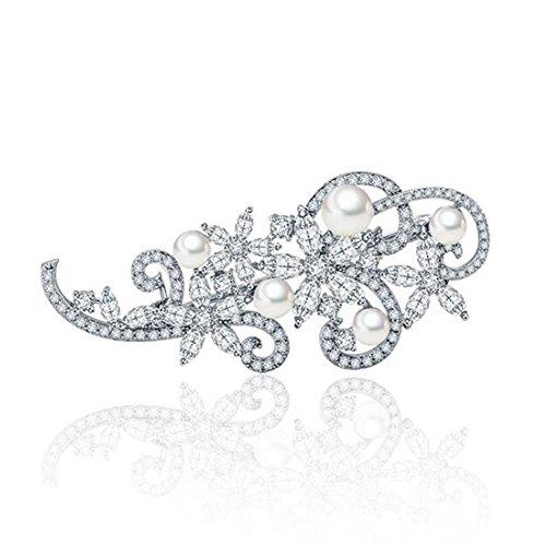 Hanie Damen Brosche Silber Blumen Perle Anstecknadel mit Weiß Zirkonia Swarovski Elemente Kristall...