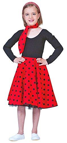Fifties Tellerrock für Mädchen Rot