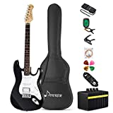 Donner Guitare Electrique DST-1 39 pouces avec Ampli, Sac, Capo, Sangle, Cordes, Accordeur, Câble et Médiators (Noir)