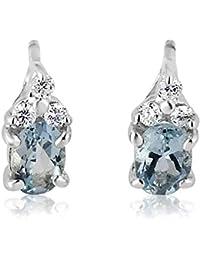 763731851f4c Mille Amori pendientes para mujer – oro blanco 9 quilates 375 1000 –  diamantes 0.13 quilates – Aigue Marine…
