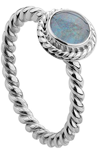 Nenalina Damen Ring Silberring besetzt mit 6 mm farbenprächtiger Opal-Triplette Edelstein, handgearbeitet aus 925 Sterling Silber, Gr. 56-212999-032-56
