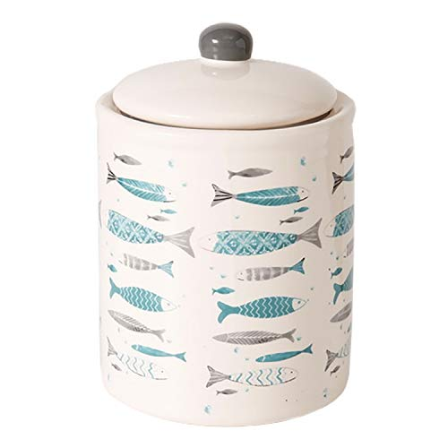 Keksdose maritim mit Fisch Motiv H18cm D13cm türkis/beige Deckelknopf grau ()