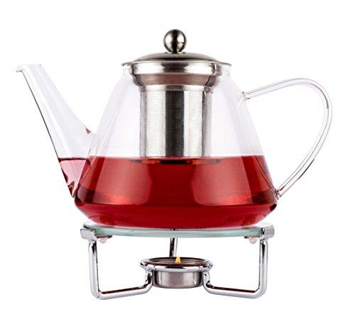 Luxpresso Teekanne mit Stövchen Set Trend-Duo Teekanne aus Glas 1,2 l mit Edelstahlfilter & Stövchen aus Edelstahl und Glas
