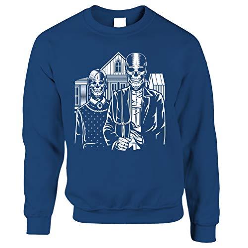 Tim And Ted Schädel Unisex-Pullover Skeleton Gotischen Haus in Eldon Royal Blue X-Large -