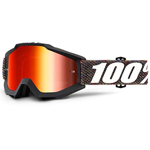 100% Motocross Brille Crossbrille Accuri Krick Schwarz Klar Rot Verspiegelt Quad Atv Mx Sx Offroad...