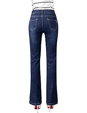 Mena Mujeres Cintura alta Pantalones de Jean elásticos Timbre Jeans acampanados (Color : Azul oscuro, Tamaño :...