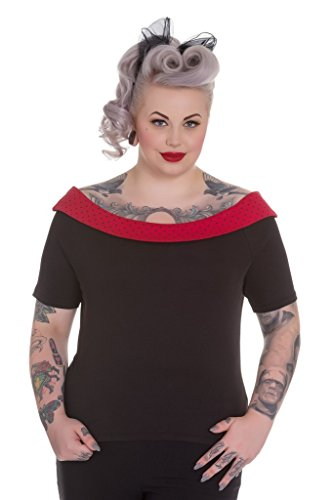 Hell Bunny Chloe Bluse Bardot Top 50er Jahre Vintage Retro Schwarz Rot