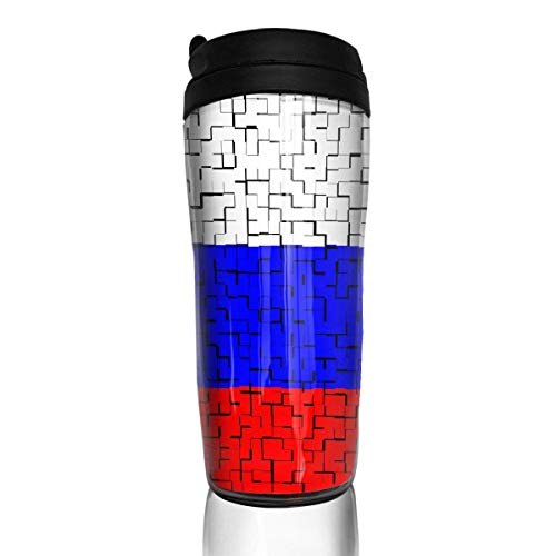 Travel Coffee Mug Russia Flag Puzzle 12 Oz Spill Proof Flip Lid Water Bottle Environmental Protection Material ABS