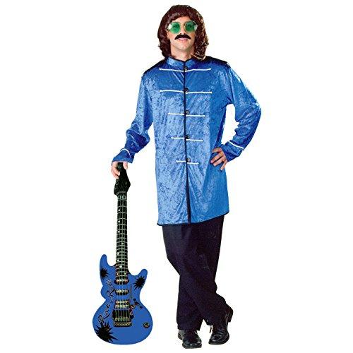 Samtkostüm Pepper Gr. 50/54 Blau + aufblasbare Luftgitarre Beatles Kostüm (Blau Sgt Pepper Kostüm)