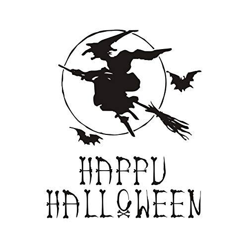 yuandp Happy Halloween Hexe Besen Fledermäuse Wandaufkleber Aufkleber Poster Wohnkultur Vinyl Kunstwand Wohnzimmer Schlafzimmer Halloween Dekoration 48 * 59 cm