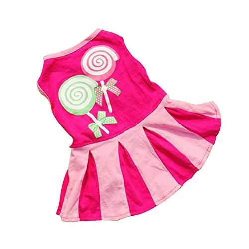 Haustier Kapuzenpulli Rock, Hmeng Süßigkeit Muster Welpen Baumwollkleid Nette Kleine Hundekatze Kleid Sleeveless Kleidungs für Frühling Sommer (XS, Heißes (Und Pullover Rock Pudel Kostüme Kind)