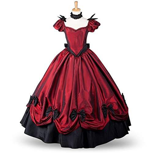 X&x Gothic Kleid Lolita Kleid Party Kostüm Maskerade Damen Mädchen Kostüm Rot Vintage Cosplay Satin Kurzarm Kleid,S (Maskerade Kostüm Mädchen)
