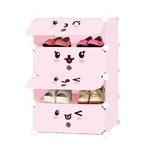 Shoe rack scarpiera per bambini_multistrato cartone animato carina bambino mini risparmio di spazio organizzatore di archiviazione scarpiera semplice, armadio per bambini (rosa/blu)