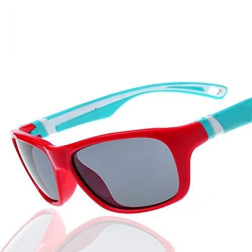 SYR Kinder Polarisator Grün TR90 Silikon weiche Sonnenbrille Flut Sonnenbrille,Red
