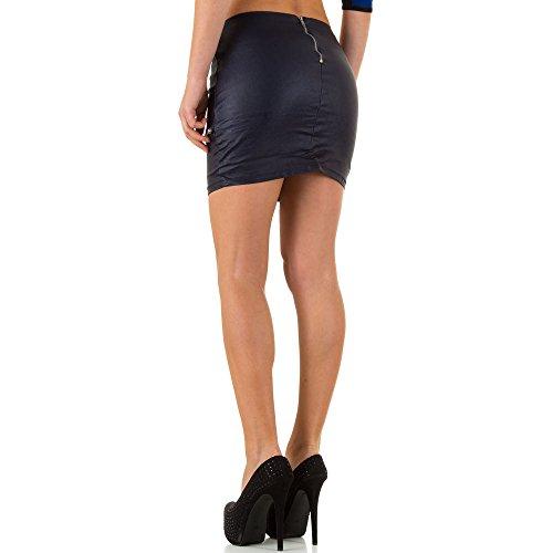 Lederoptik Mini Rock Für Damen bei Ital-Design Blau